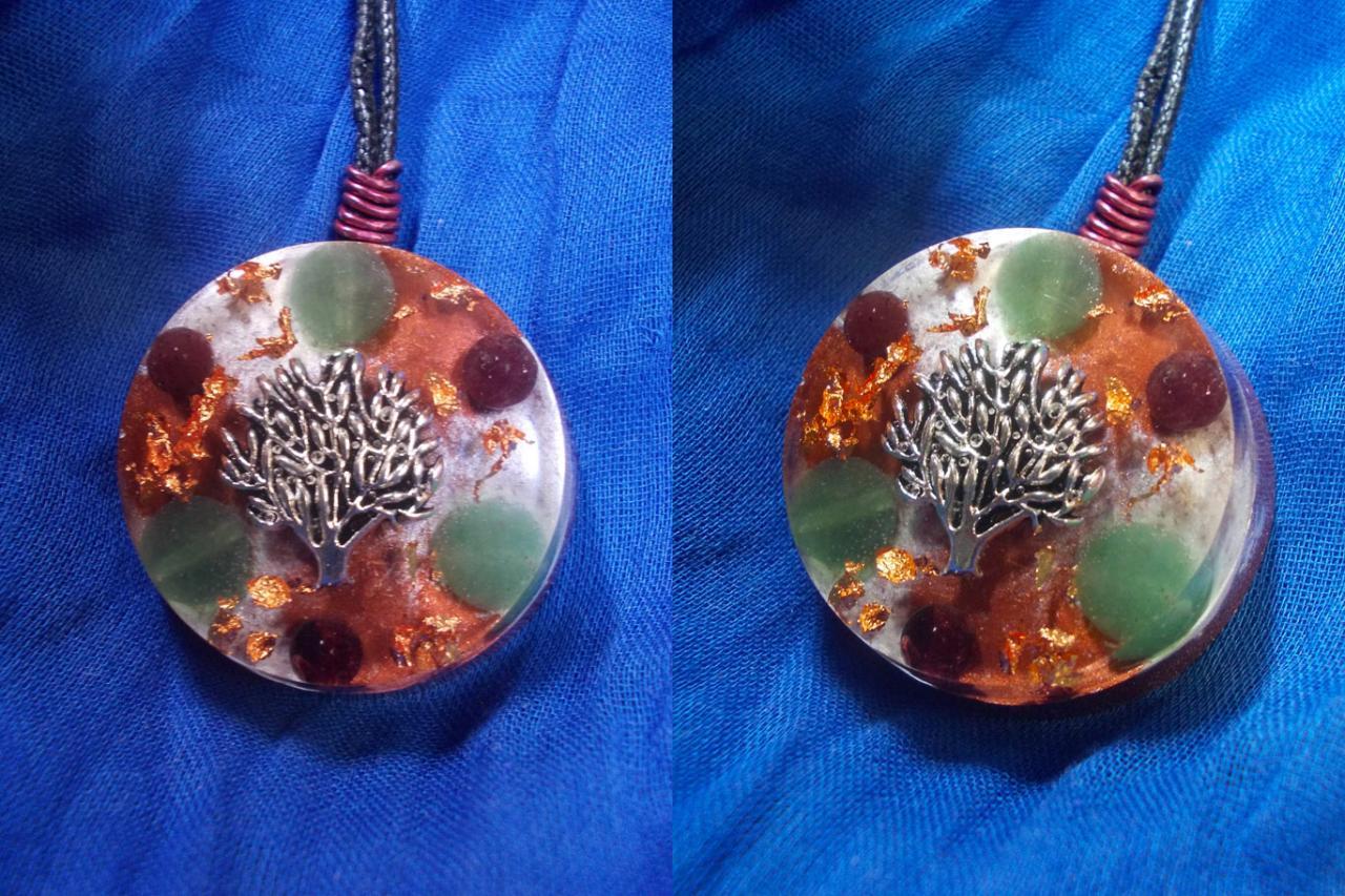 ' Olea tree ', avec Aventurine verte et grenat;