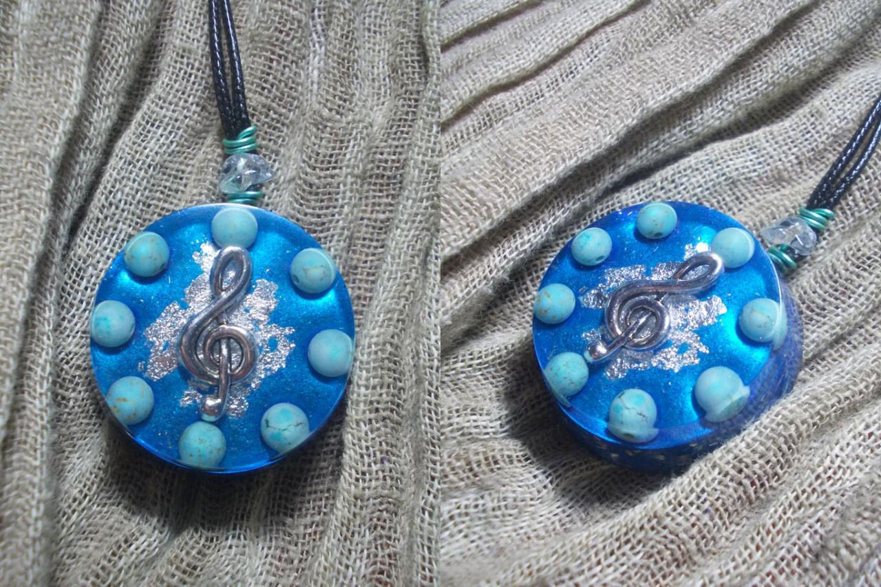 Orgonite pendentif ' Blue note 'mini'''